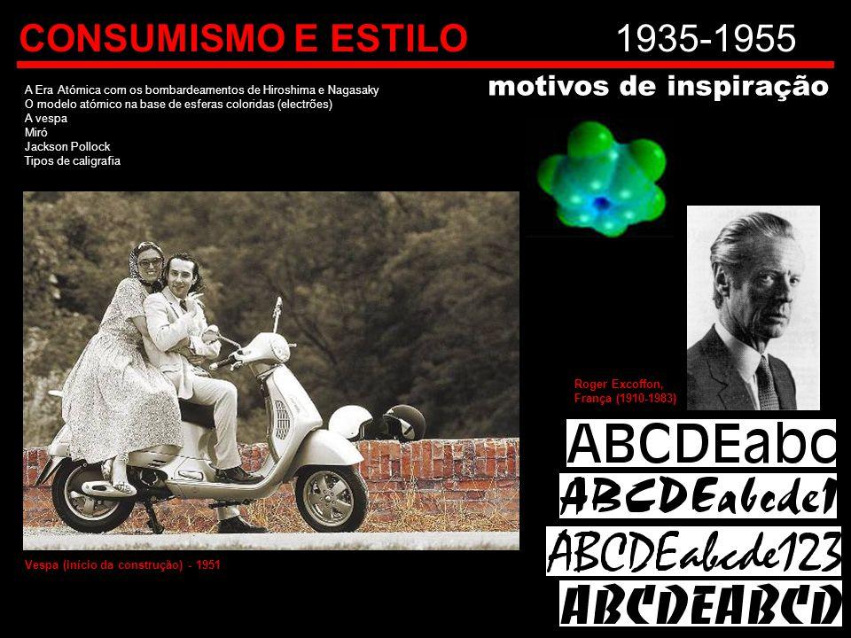 CONSUMISMO E ESTILO1935-1955 A Era Atómica com os bombardeamentos de Hiroshima e Nagasaky O modelo atómico na base de esferas coloridas (electrões) A