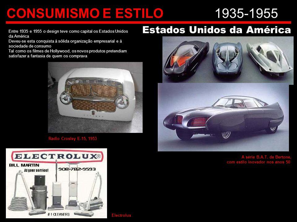 CONSUMISMO E ESTILO1935-1955 Entre 1935 e 1955 o design teve como capital os Estados Unidos da América Deveu-se esta conquista à sólida organização em