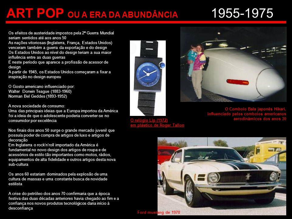 ART POP OU A ERA DA ABUNDÂNCIA 1955-1975 Os efeitos de austeridade impostos pela 2ª Guerra Mundial seriam sentidos até aos anos 50 As nações vitoriosa
