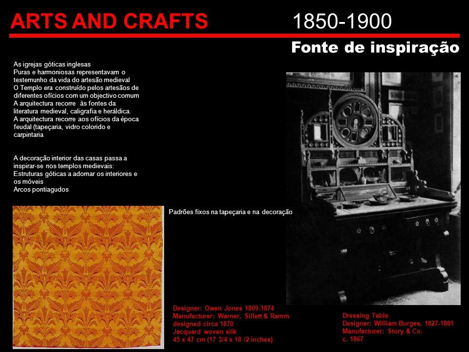 ARTS AND CRAFTS1850-1900 As igrejas góticas inglesas Puras e harmoniosas representavam o testemunho da vida do artesão medieval O Templo era construíd