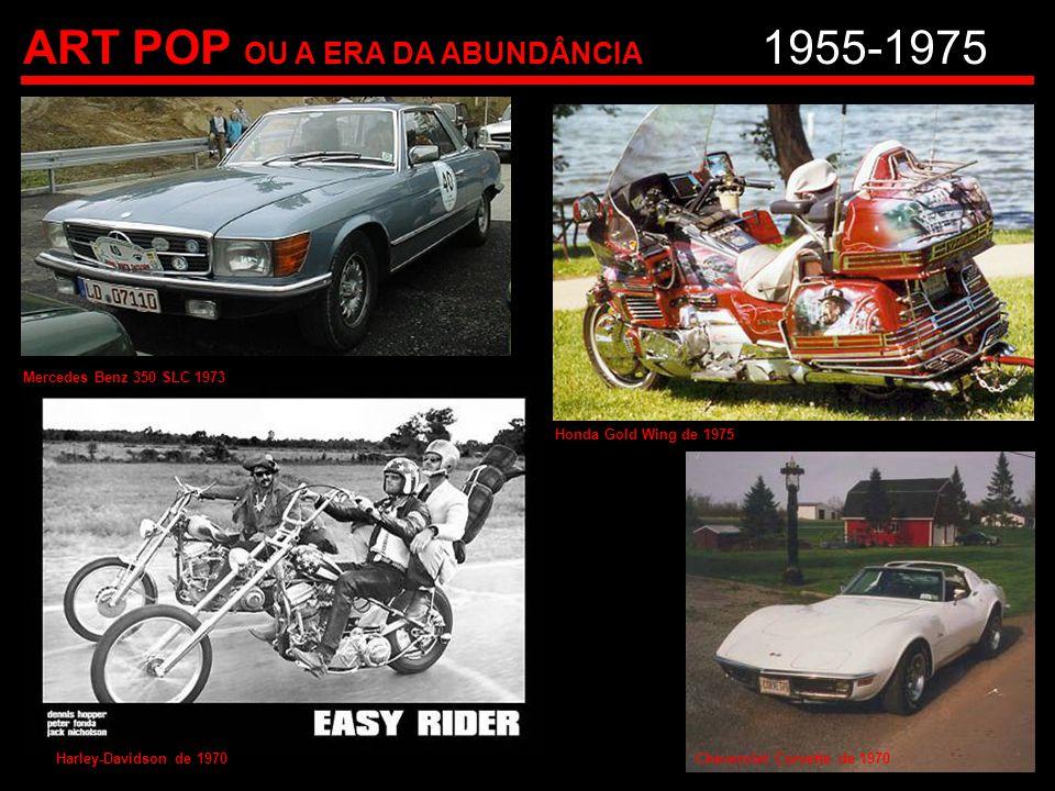 ART POP OU A ERA DA ABUNDÂNCIA 1955-1975 Mercedes Benz 350 SLC 1973 Harley-Davidson de 1970 Honda Gold Wing de 1975 Cheverolet Corvette de 1970