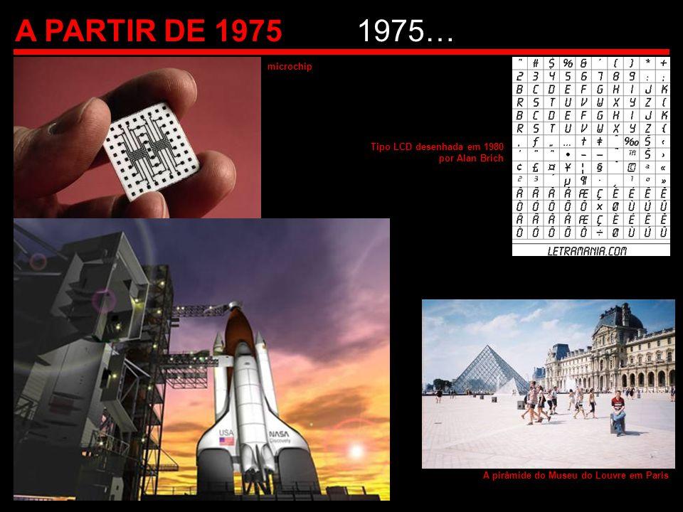 A PARTIR DE 19751975… microchip Tipo LCD desenhada em 1980 por Alan Brich A pirâmide do Museu do Louvre em Paris