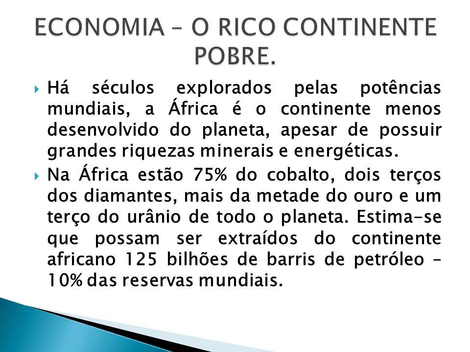  Há séculos explorados pelas potências mundiais, a África é o continente menos desenvolvido do planeta, apesar de possuir grandes riquezas minerais e