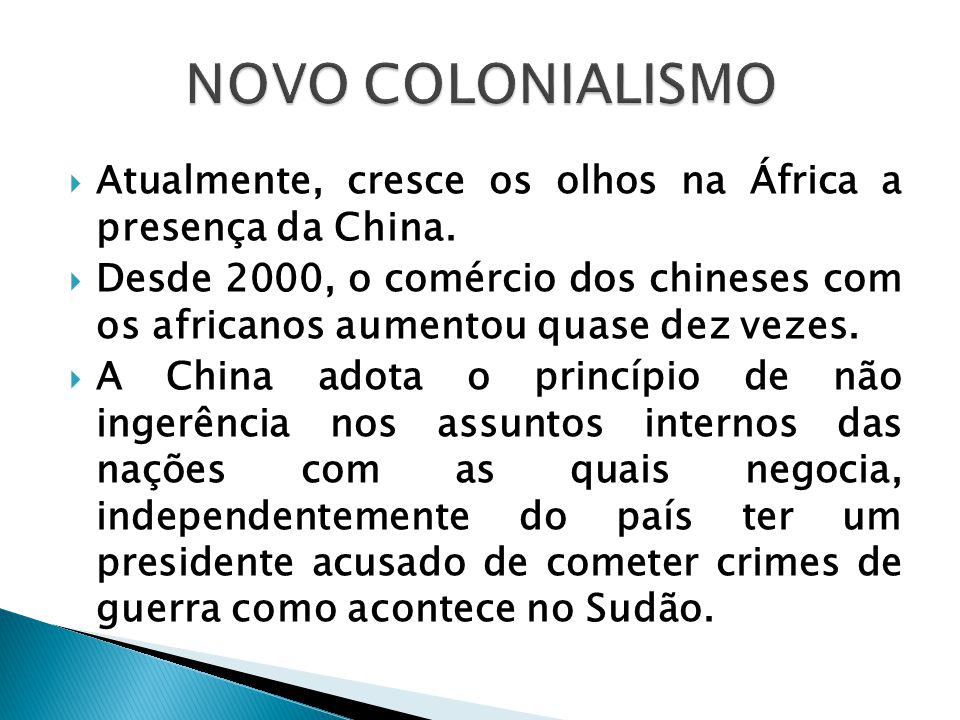  Atualmente, cresce os olhos na África a presença da China.  Desde 2000, o comércio dos chineses com os africanos aumentou quase dez vezes.  A Chin