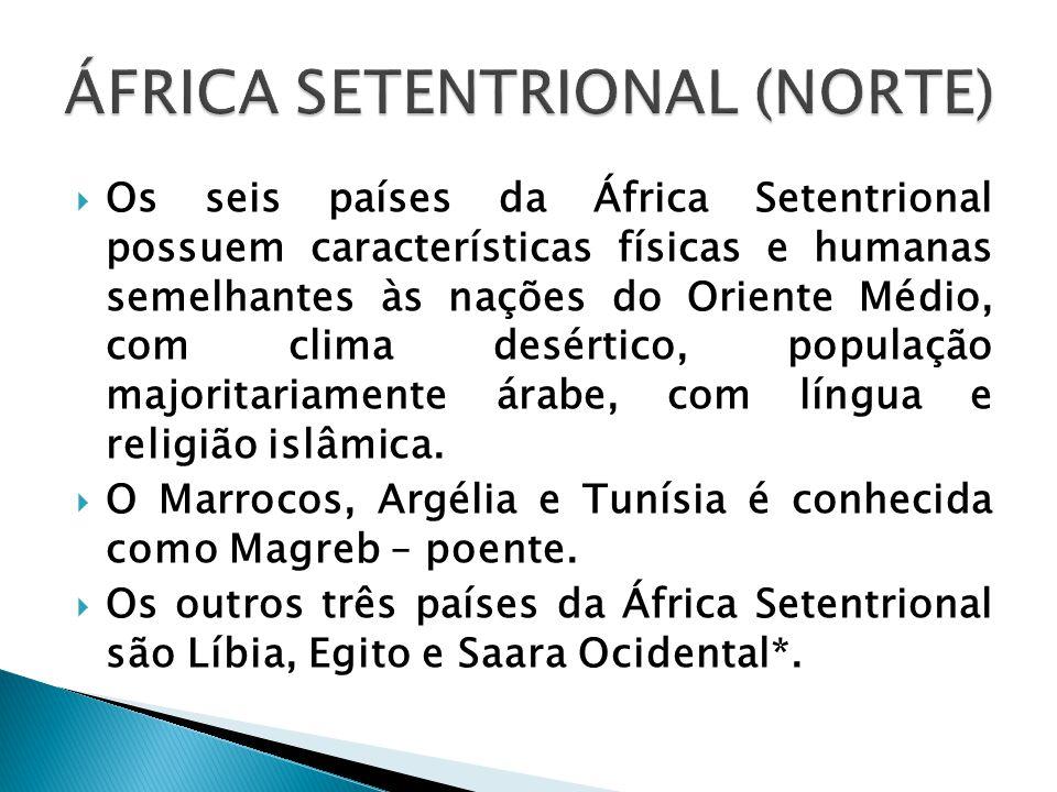  Os seis países da África Setentrional possuem características físicas e humanas semelhantes às nações do Oriente Médio, com clima desértico, populaç