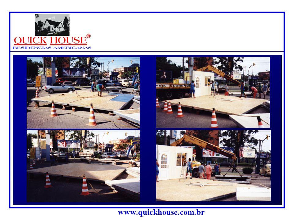 www.quickhouse.com.br A seguir apresentamos fotos em seqüência da montagem de uma casa básica com o sistema de painéis pré- acabados,