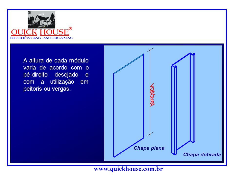 www.quickhouse.com.br ESQUEMA ESTRUTURAL Todo o aço empregado na estrutura é do tipo ZAR (de alta resistência), com chapas galvanizadas, com espessura variável entre 0,95 mm e 2 mm, dependendo da finalidade a que se destina.