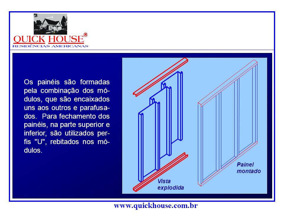 www.quickhouse.com.br Painel montado Os painéis são formadas pela combinação dos mó- dulos, que são encaixados uns aos outros e parafusa- dos.