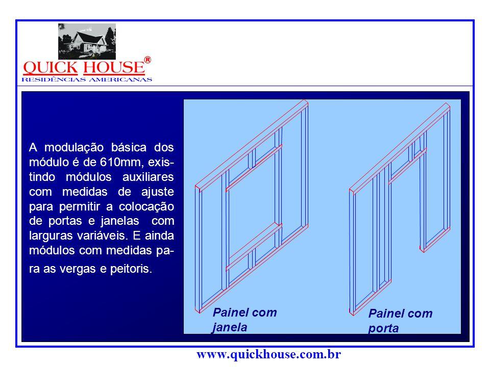 www.quickhouse.com.br A modulação básica dos módulo é de 610mm, exis- tindo módulos auxiliares com medidas de ajuste para permitir a colocação de portas e janelas com larguras variáveis.