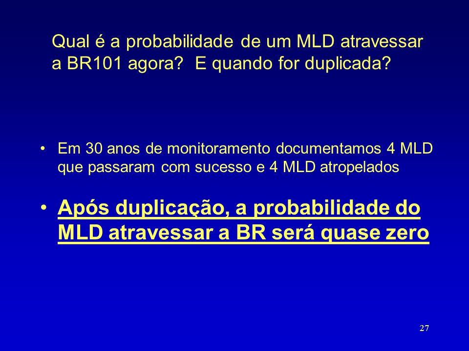 Qual é a probabilidade de um MLD atravessar a BR101 agora? E quando for duplicada? •Em 30 anos de monitoramento documentamos 4 MLD que passaram com su