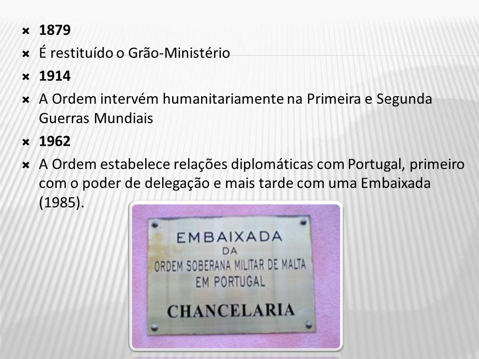  1879  É restituído o Grão-Ministério  1914  A Ordem intervém humanitariamente na Primeira e Segunda Guerras Mundiais  1962  A Ordem estabelece relações diplomáticas com Portugal, primeiro com o poder de delegação e mais tarde com uma Embaixada (1985).