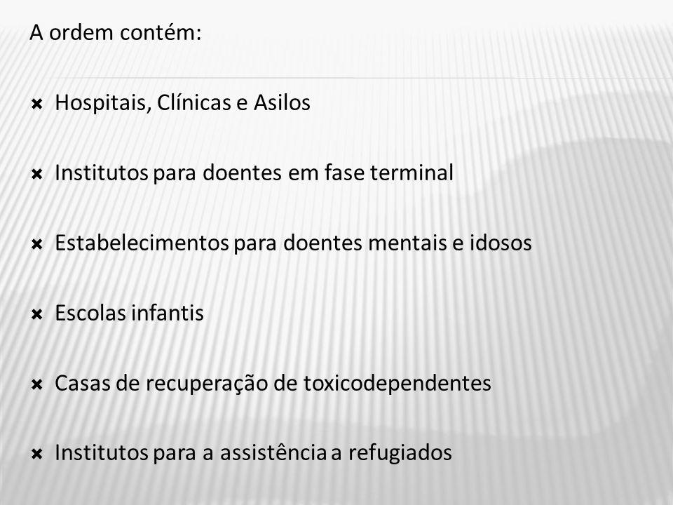 A ordem contém:  Hospitais, Clínicas e Asilos  Institutos para doentes em fase terminal  Estabelecimentos para doentes mentais e idosos  Escolas infantis  Casas de recuperação de toxicodependentes  Institutos para a assistência a refugiados
