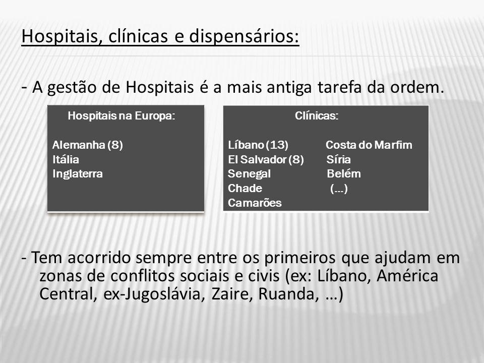 Hospitais, clínicas e dispensários: - A gestão de Hospitais é a mais antiga tarefa da ordem.