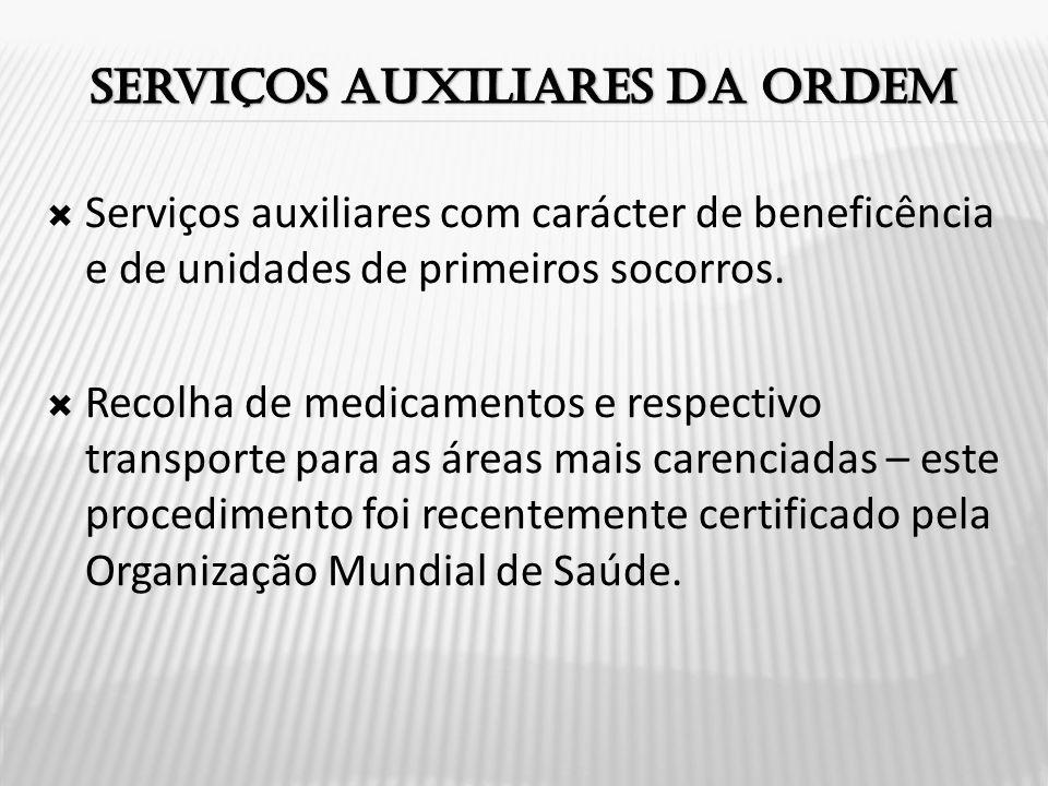  Serviços auxiliares com carácter de beneficência e de unidades de primeiros socorros.