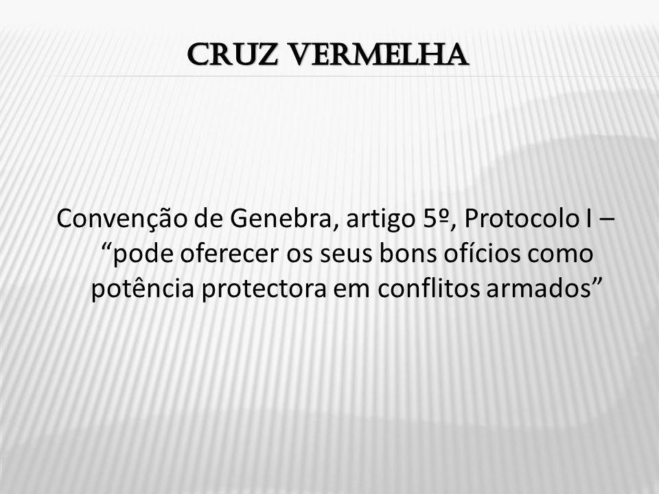 Convenção de Genebra, artigo 5º, Protocolo I – pode oferecer os seus bons ofícios como potência protectora em conflitos armados