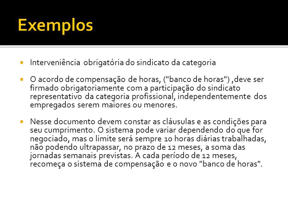  Interveniência obrigatória do sindicato da categoria  O acordo de compensação de horas, (