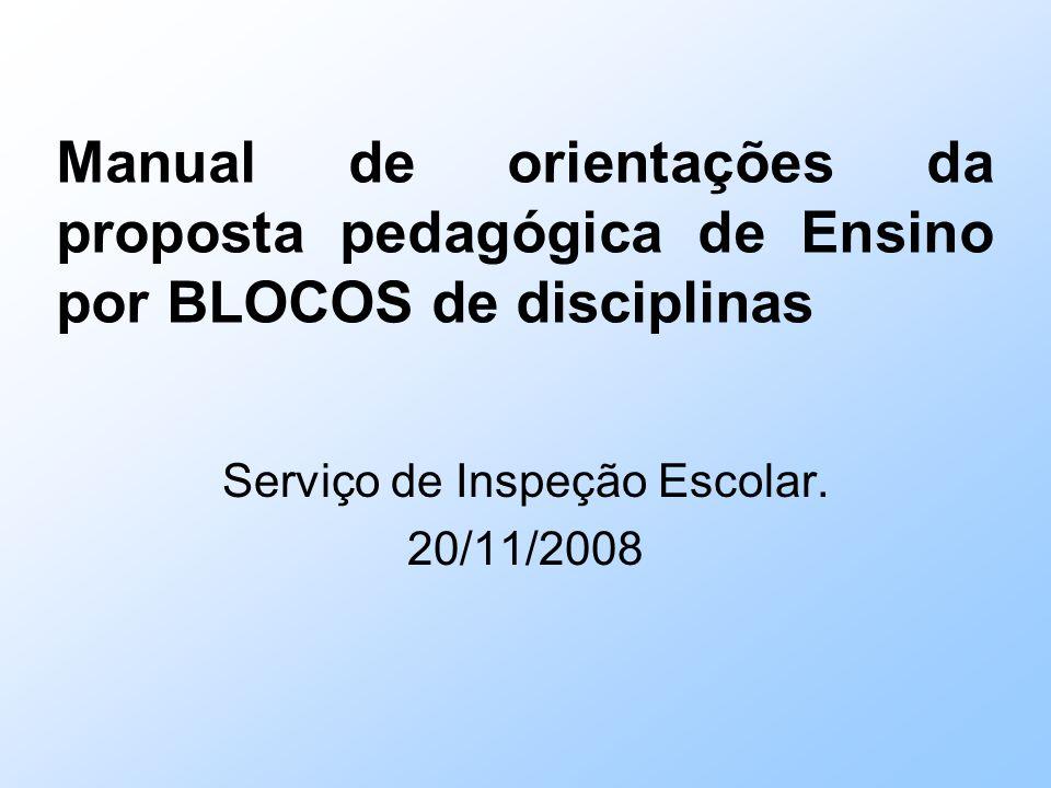 Manual de orientações da proposta pedagógica de Ensino por BLOCOS de disciplinas Serviço de Inspeção Escolar.