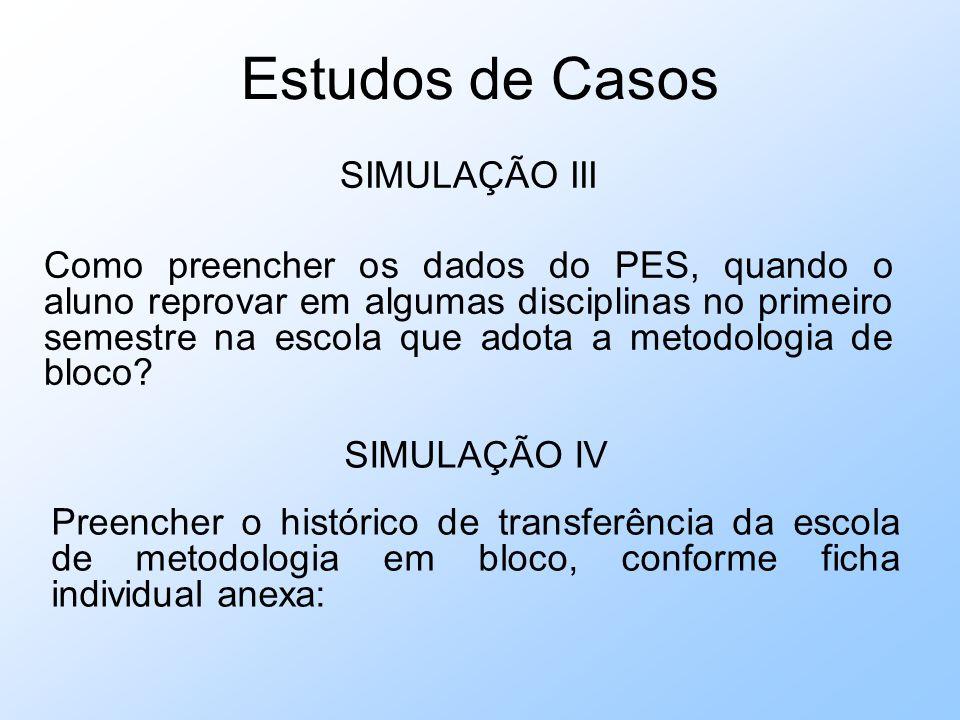 Estudos de Casos SIMULAÇÃO III Como preencher os dados do PES, quando o aluno reprovar em algumas disciplinas no primeiro semestre na escola que adota a metodologia de bloco.