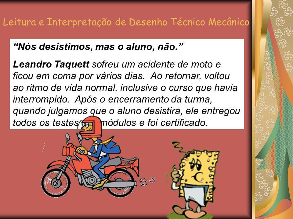 Nós desistimos, mas o aluno, não. Leandro Taquett sofreu um acidente de moto e ficou em coma por vários dias.