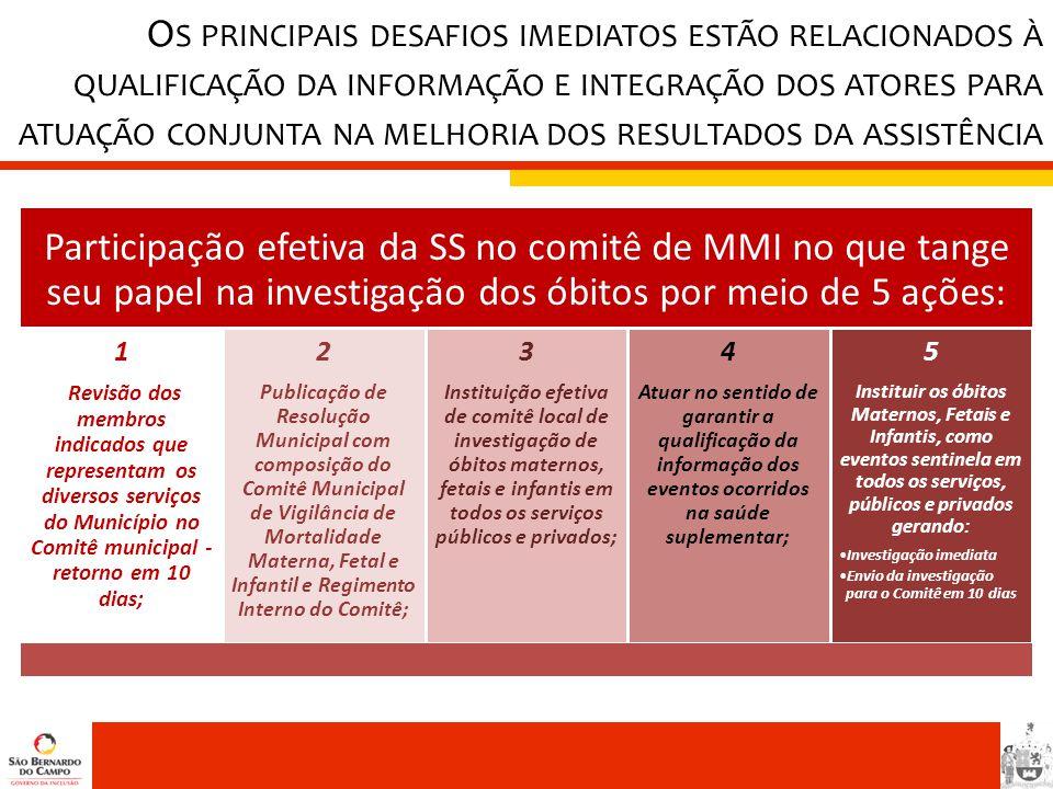 O S PRINCIPAIS DESAFIOS IMEDIATOS ESTÃO RELACIONADOS À QUALIFICAÇÃO DA INFORMAÇÃO E INTEGRAÇÃO DOS ATORES PARA ATUAÇÃO CONJUNTA NA MELHORIA DOS RESULT