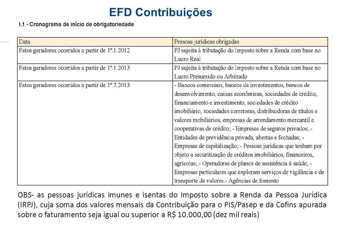 OBS- as pessoas jurídicas imunes e isentas do Imposto sobre a Renda da Pessoa Jurídica (IRPJ), cuja soma dos valores mensais da Contribuição para o PI