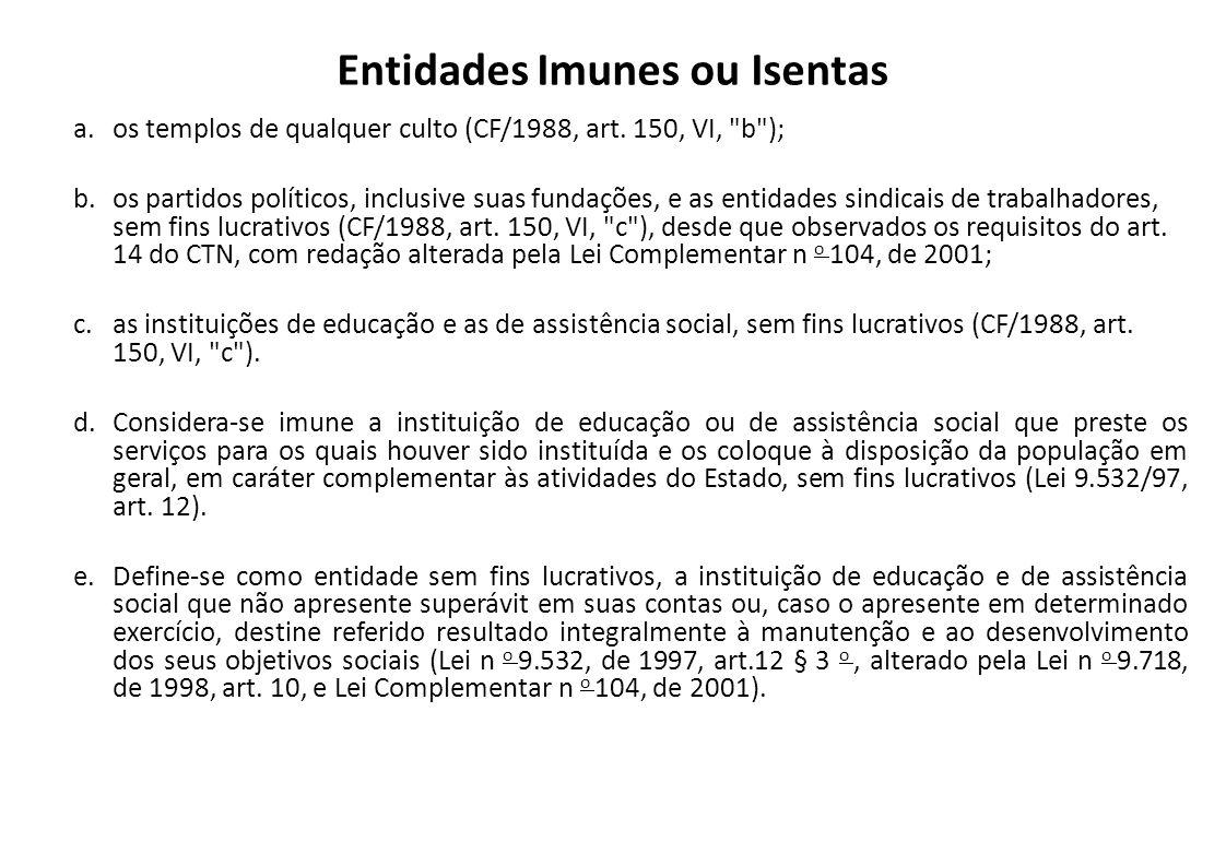 Entidades Imunes ou Isentas a.os templos de qualquer culto (CF/1988, art. 150, VI,