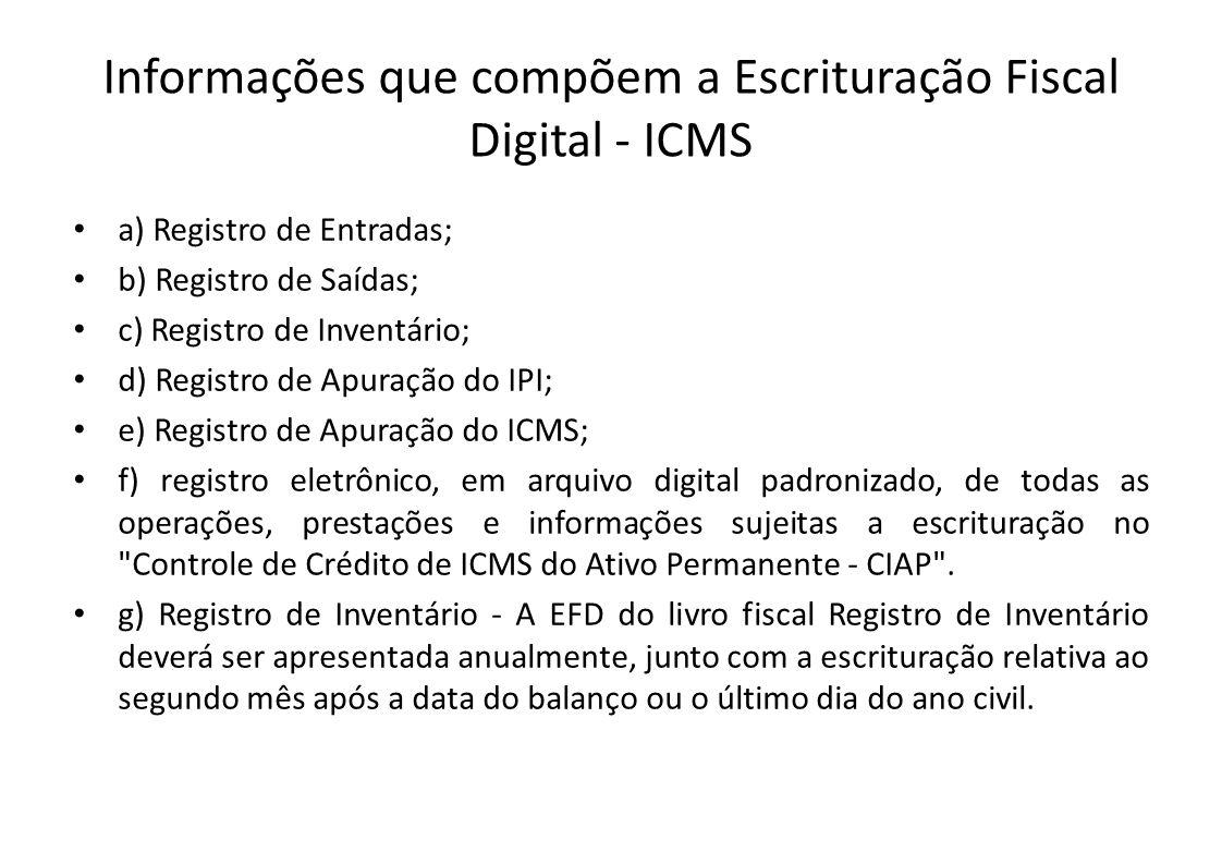 Informações que compõem a Escrituração Fiscal Digital - ICMS • a) Registro de Entradas; • b) Registro de Saídas; • c) Registro de Inventário; • d) Reg