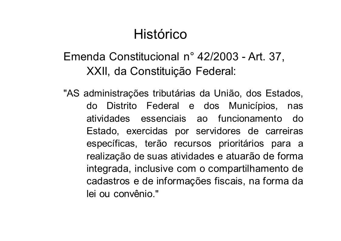 Histórico Emenda Constitucional n° 42/2003 - Art. 37, XXII, da Constituição Federal: