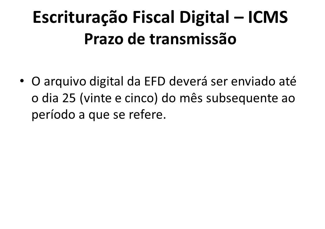 Escrituração Fiscal Digital – ICMS Prazo de transmissão • O arquivo digital da EFD deverá ser enviado até o dia 25 (vinte e cinco) do mês subsequente