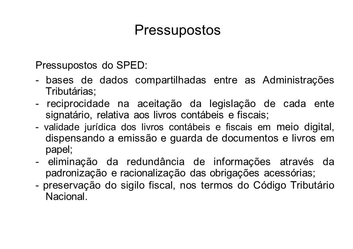 Instituição Com base nos mencionados pressupostos, o Decreto n° 6.022, de 22.01.2007, instituiu O SPED.