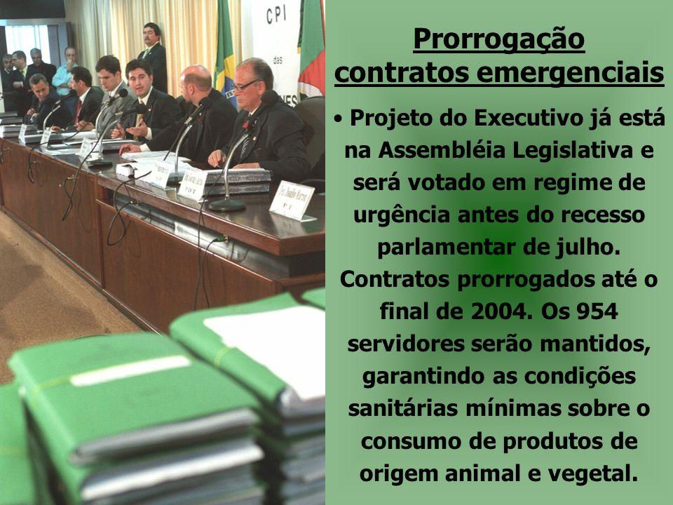 Prorrogação contratos emergenciais • Projeto do Executivo já está na Assembléia Legislativa e será votado em regime de urgência antes do recesso parla