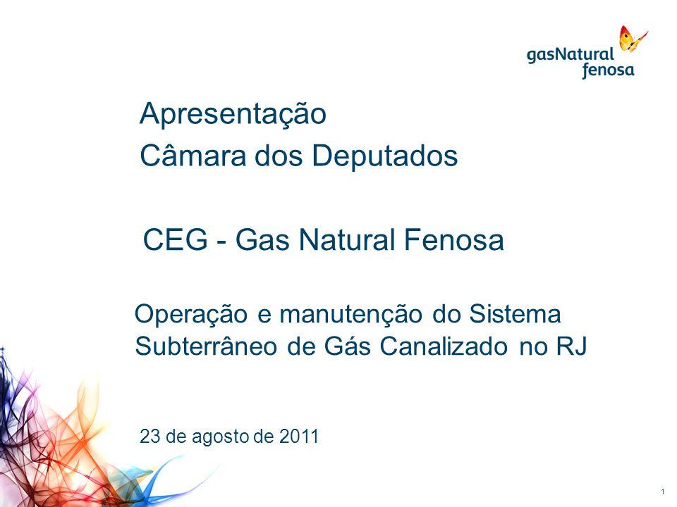 1 Apresentação Câmara dos Deputados CEG - Gas Natural Fenosa Operação e manutenção do Sistema Subterrâneo de Gás Canalizado no RJ 23 de agosto de 2011