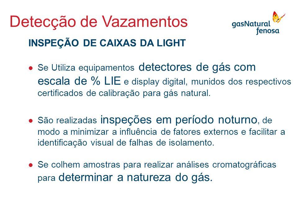  Se Utiliza equipamentos detectores de gás com escala de % LIE e display digital, munidos dos respectivos certificados de calibração para gás natural