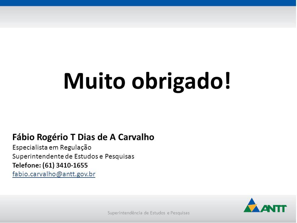 Superintendência de Estudos e Pesquisas Muito obrigado! Fábio Rogério T Dias de A Carvalho Especialista em Regulação Superintendente de Estudos e Pesq