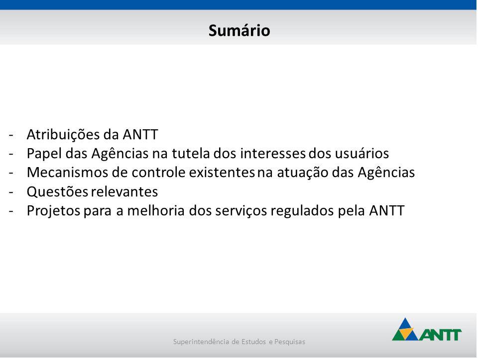 -Atribuições da ANTT -Papel das Agências na tutela dos interesses dos usuários -Mecanismos de controle existentes na atuação das Agências -Questões re