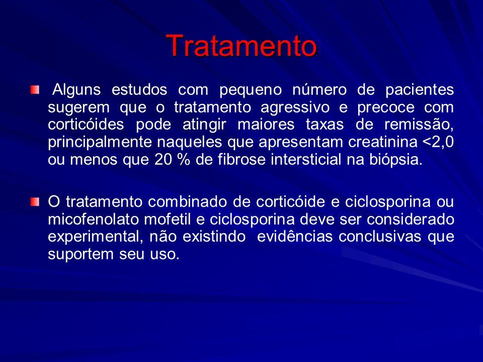 Tratamento Alguns estudos com pequeno número de pacientes sugerem que o tratamento agressivo e precoce com corticóides pode atingir maiores taxas de r