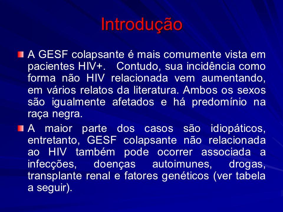 Introdução A GESF colapsante é mais comumente vista em pacientes HIV+. Contudo, sua incidência como forma não HIV relacionada vem aumentando, em vário