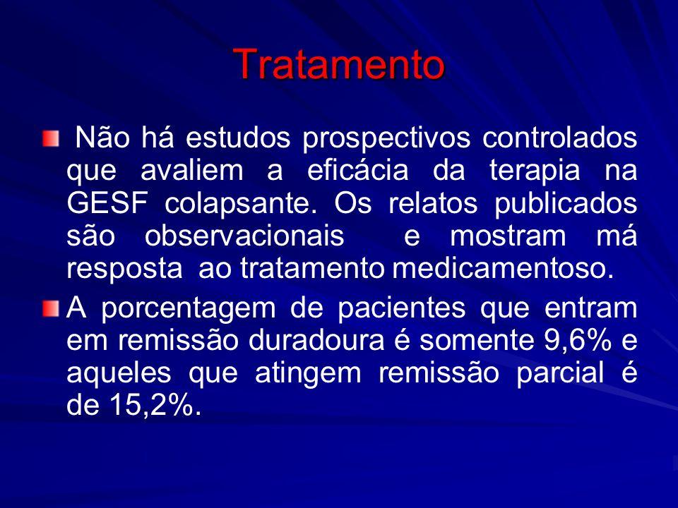 Tratamento Não há estudos prospectivos controlados que avaliem a eficácia da terapia na GESF colapsante. Os relatos publicados são observacionais e mo