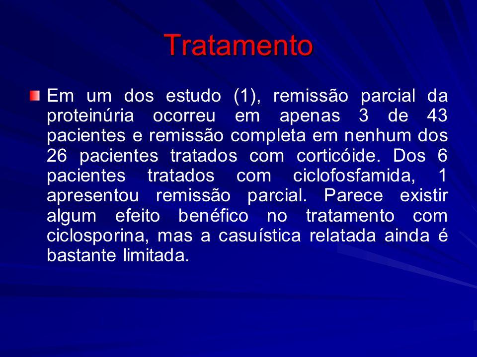 Tratamento Em um dos estudo (1), remissão parcial da proteinúria ocorreu em apenas 3 de 43 pacientes e remissão completa em nenhum dos 26 pacientes tr
