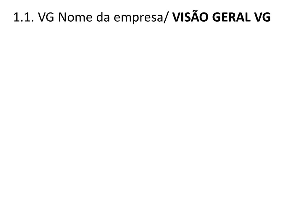 1.1. VG Nome da empresa/ VISÃO GERAL VG