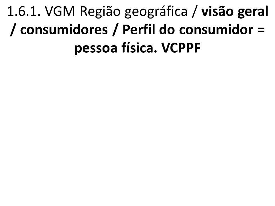 1.6.1. VGM Região geográfica / visão geral / consumidores / Perfil do consumidor = pessoa física. VCPPF