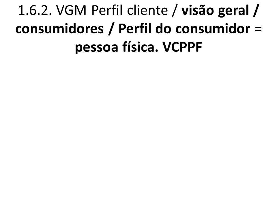 1.6.2. VGM Perfil cliente / visão geral / consumidores / Perfil do consumidor = pessoa física. VCPPF