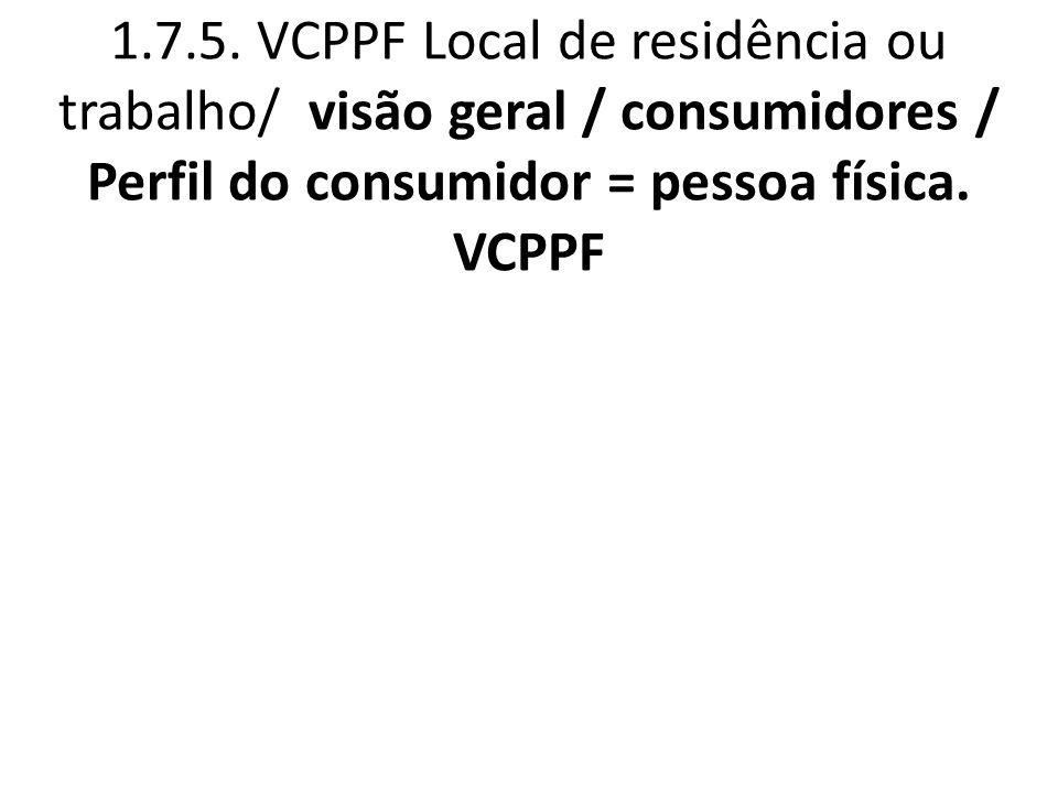 1.7.5. VCPPF Local de residência ou trabalho/ visão geral / consumidores / Perfil do consumidor = pessoa física. VCPPF