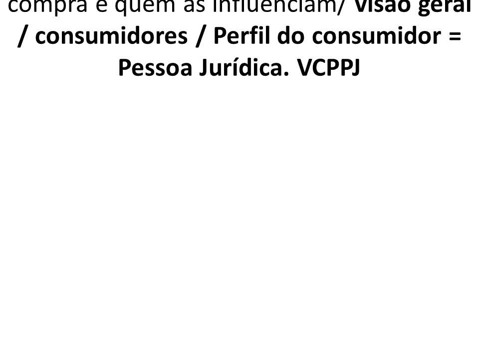 1.7.4.3. VCPPJ Tomador de decisões de compra e quem as influenciam/ visão geral / consumidores / Perfil do consumidor = Pessoa Jurídica. VCPPJ