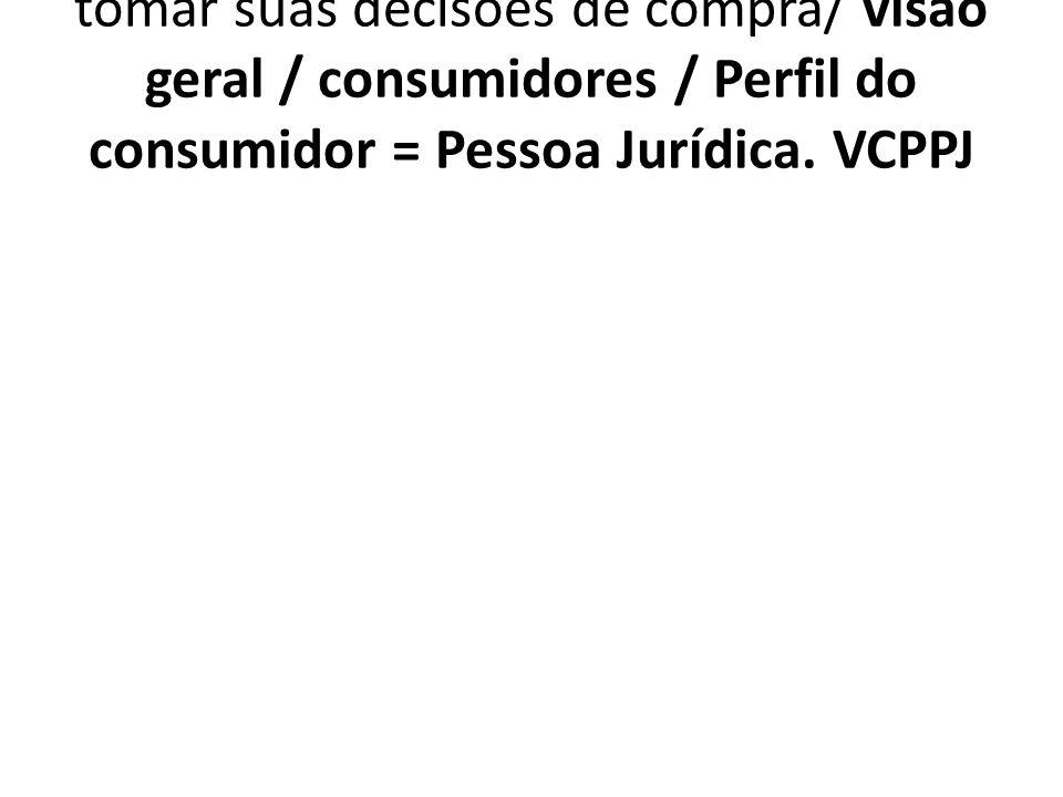 1.7.4.5. VCPPJ Critérios aplicados para tomar suas decisões de compra/ visão geral / consumidores / Perfil do consumidor = Pessoa Jurídica. VCPPJ