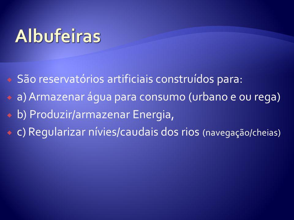  São reservatórios artificiais construídos para:  a) Armazenar água para consumo (urbano e ou rega)  b) Produzir/armazenar Energia,  c) Regularizar nívies/caudais dos rios (navegação/cheias)