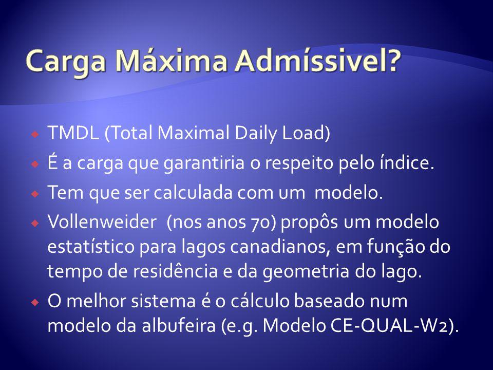  TMDL (Total Maximal Daily Load)  É a carga que garantiria o respeito pelo índice.