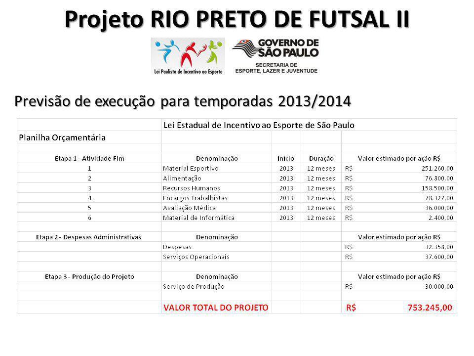 Projeto RIO PRETO DE FUTSAL II Previsão de execução para temporadas 2013/2014