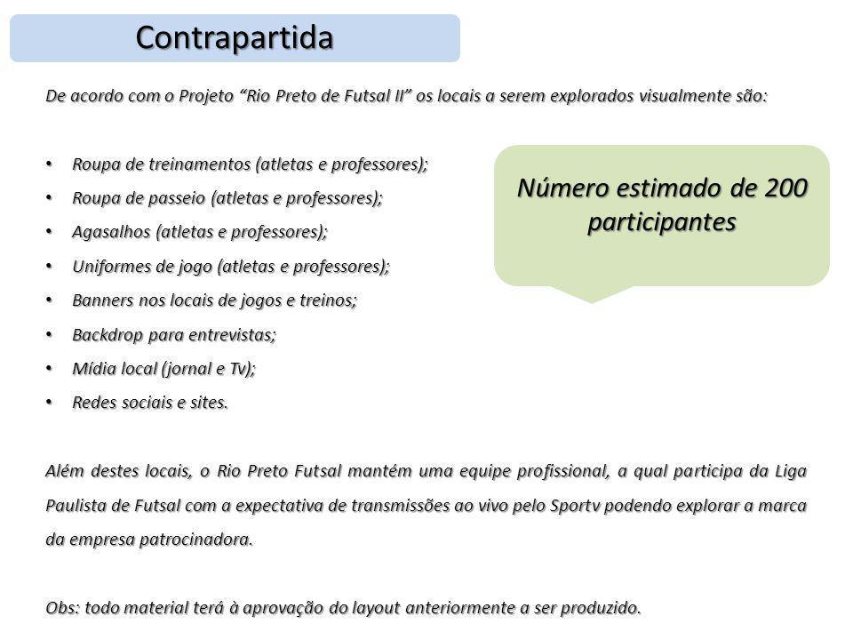 """Contrapartida De acordo com o Projeto """"Rio Preto de Futsal II"""" os locais a serem explorados visualmente são: • Roupa de treinamentos (atletas e profes"""
