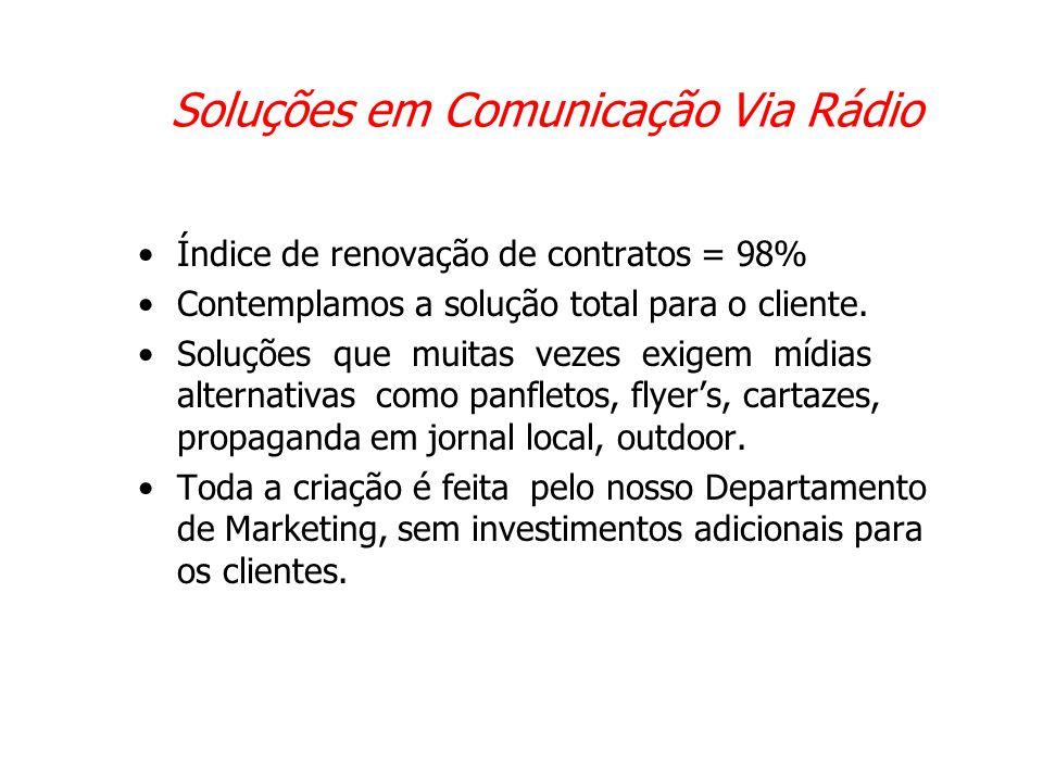 Soluções em Comunicação Via Rádio •Índice de renovação de contratos = 98% •Contemplamos a solução total para o cliente. •Soluções que muitas vezes exi